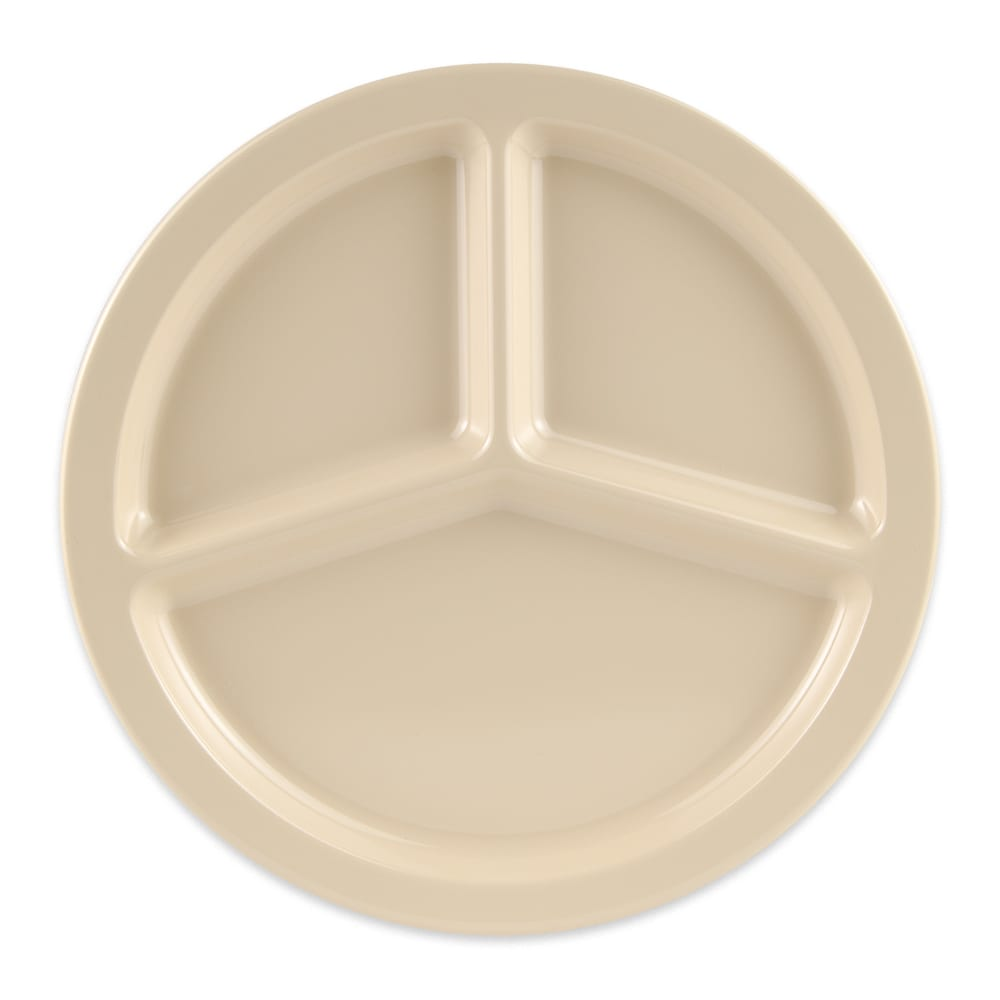 "GET CP-533-T 10"" Round Dinner Plate w/ (3) Compartments, Melamine, Tan"