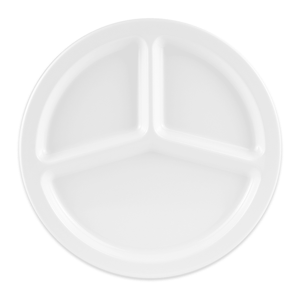 "GET CP-533-W 10"" Round Dinner Plate w/ (3) Compartments, Melamine, White"