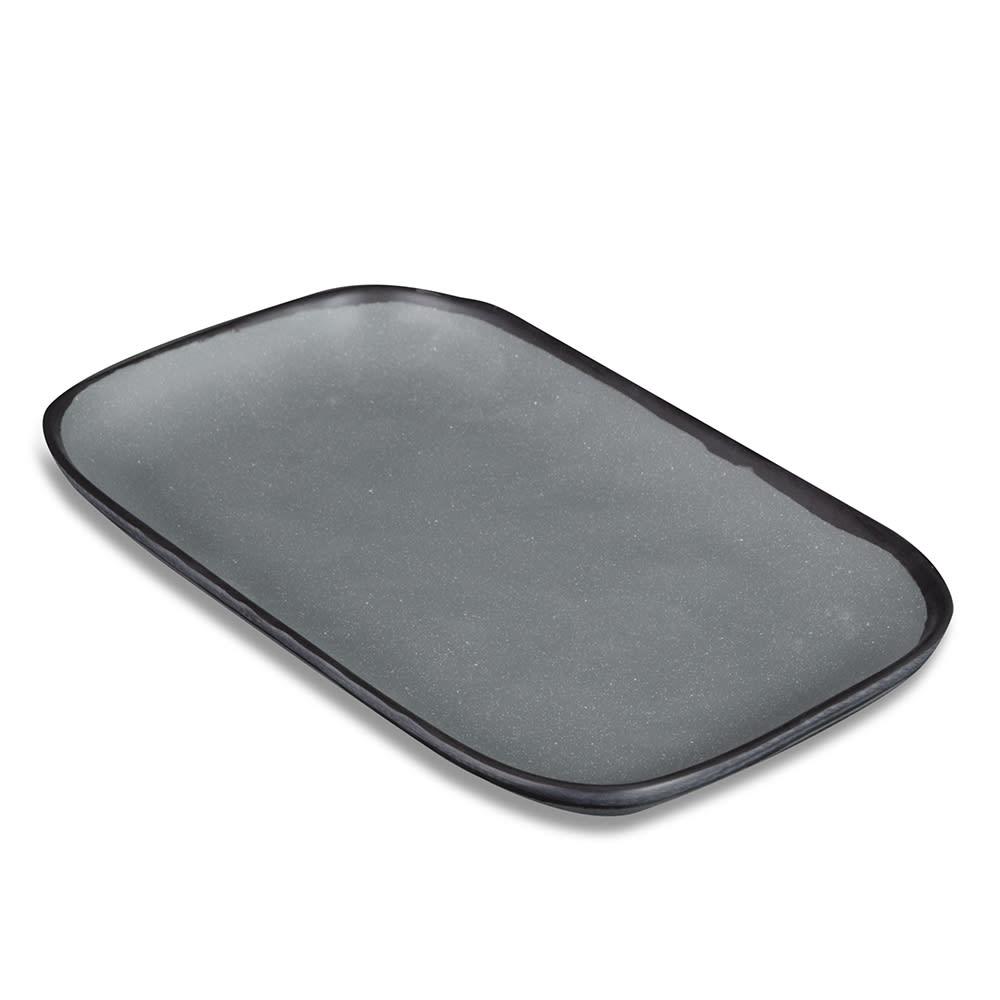 """GET CS-1170-GR Rectangular Pottery Market™ Dinner Plate - 12"""" x 7.5"""", Melamine, Speckled Gray"""