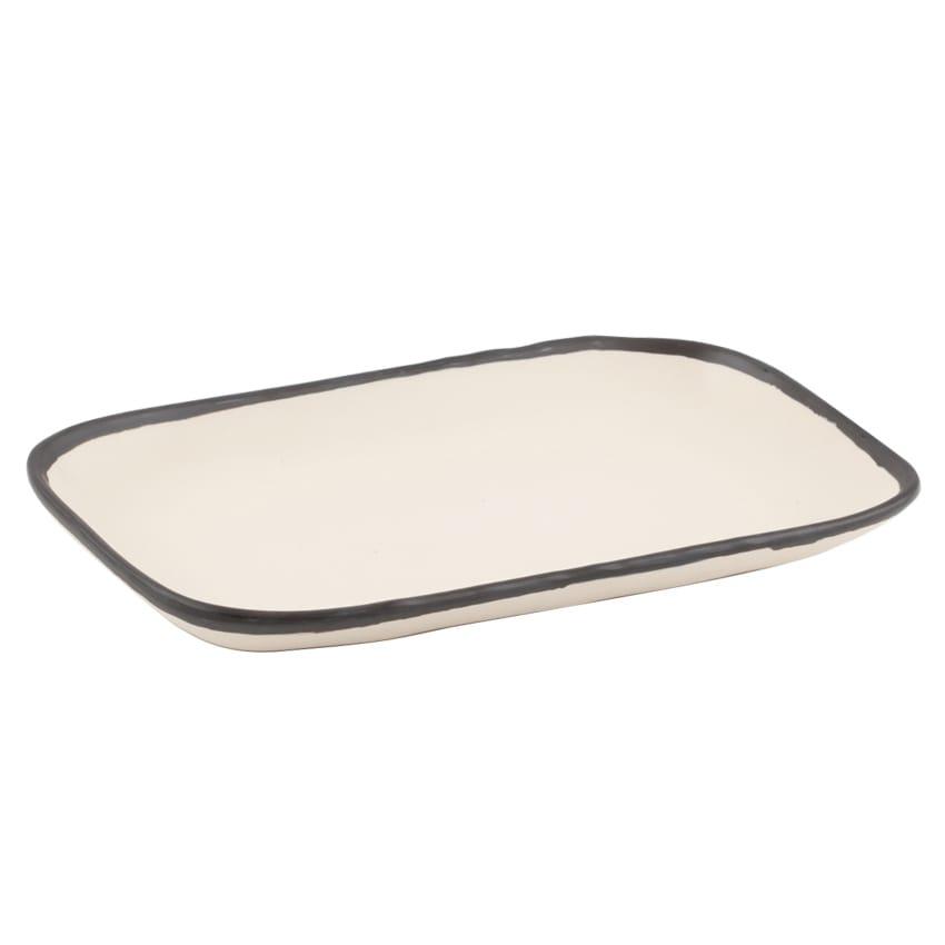 "GET CS-1170-MA Rectangular Pottery Market™ Dinner Plate - 12"" x 7.5"", Melamine, Manila"