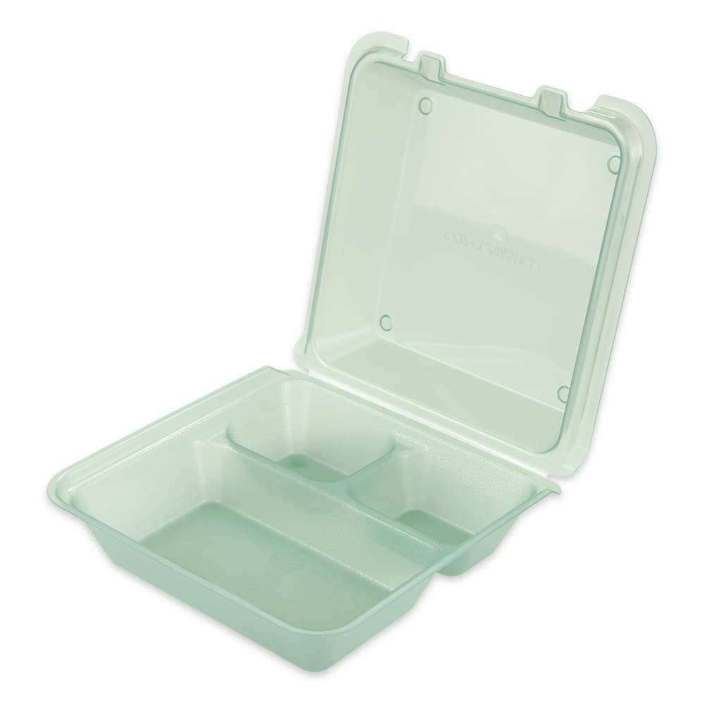 """GET EC-01-1-JA To Go Food Container w/ (3) Compartments, 9"""" x 9"""" x 3.5"""", Polypropylene, Jade"""