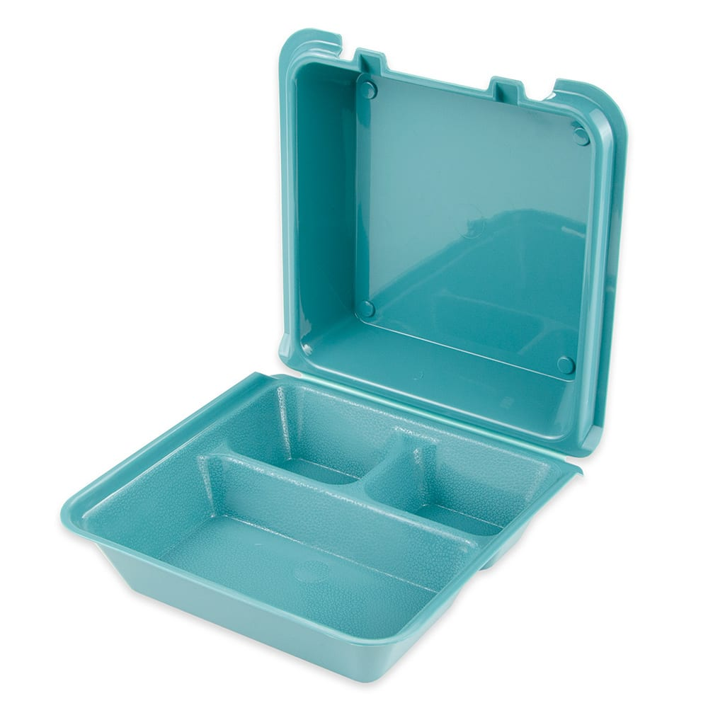 "GET EC-01-1-TE To Go Food Container w/ (3) Compartments, 9"" x 9"" x 3.5"", Polypropylene, Teal"
