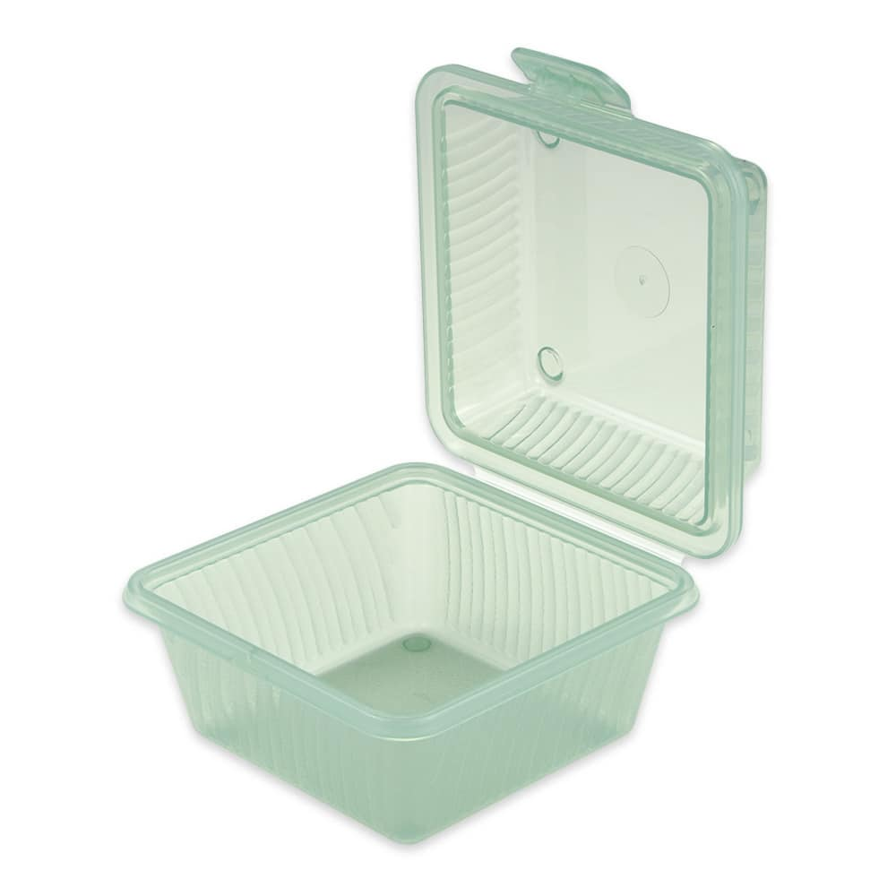 "GET EC-08-1-JA 4.75"" Square To Go Food Container, Polypropylene, Jade"