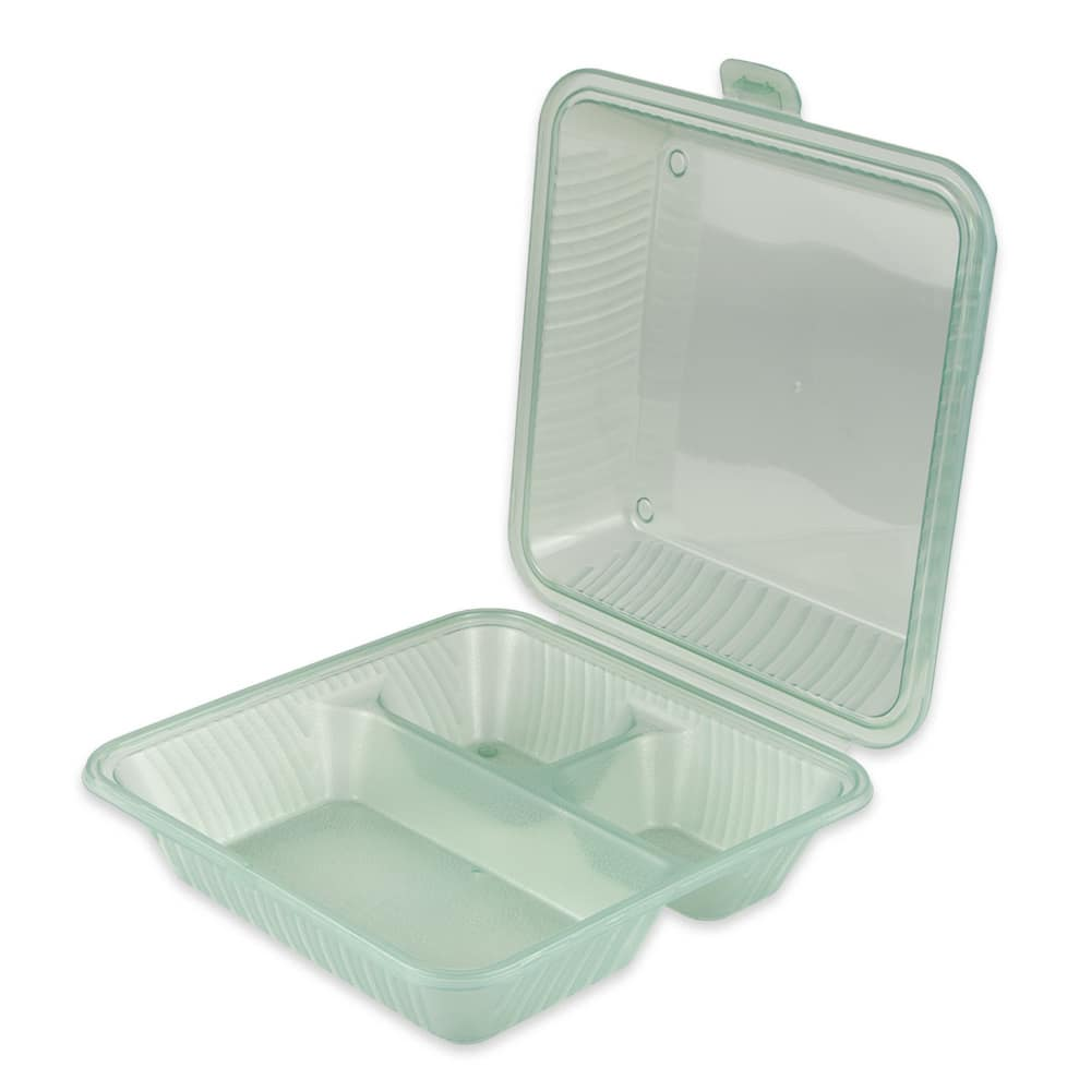 "GET EC-09-1-JA 9"" Square To Go Food Container, Polypropylene, Jade"
