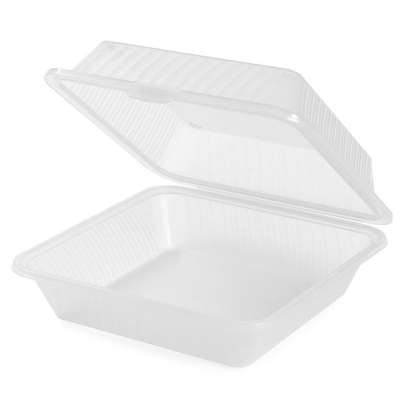 "GET EC-10-1-CL 9"" Square To Go Food Container, Polypropylene, Clear"