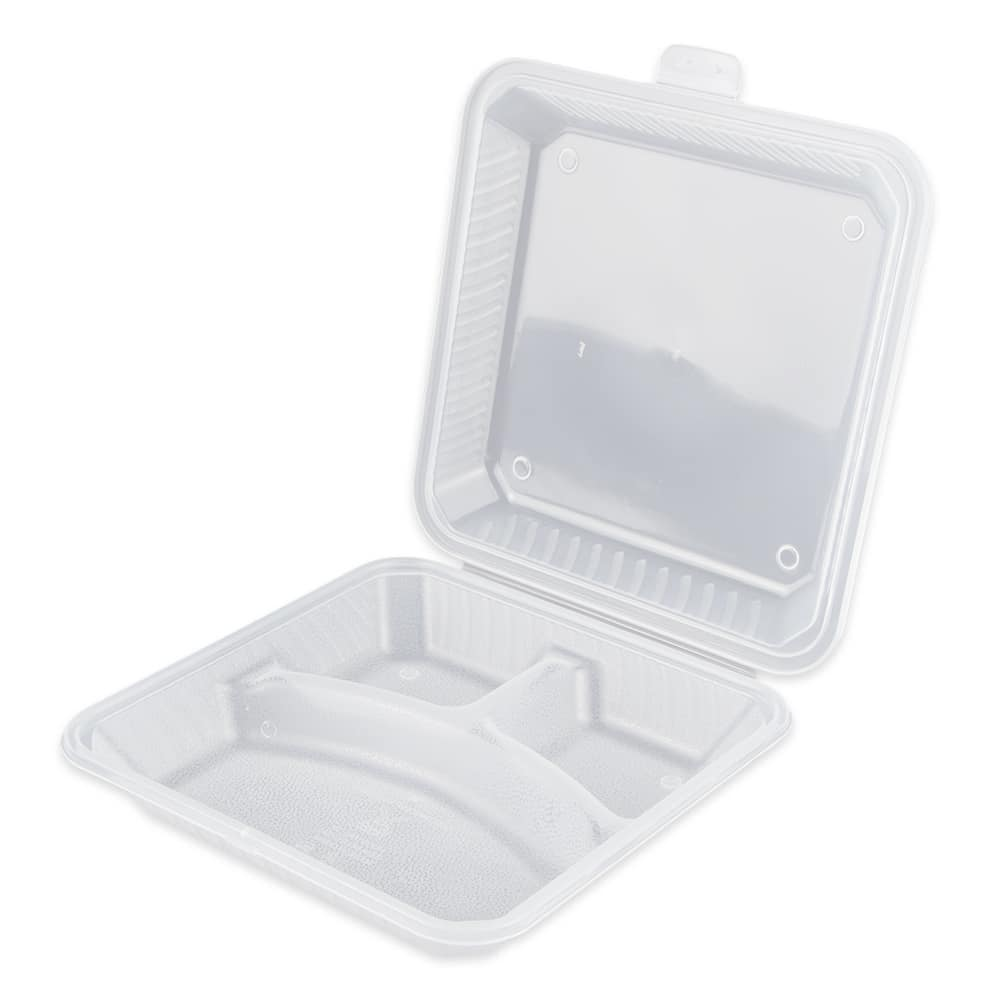 """GET EC-12-1-CL 9"""" Square To Go Food Container, Polypropylene, Clear"""