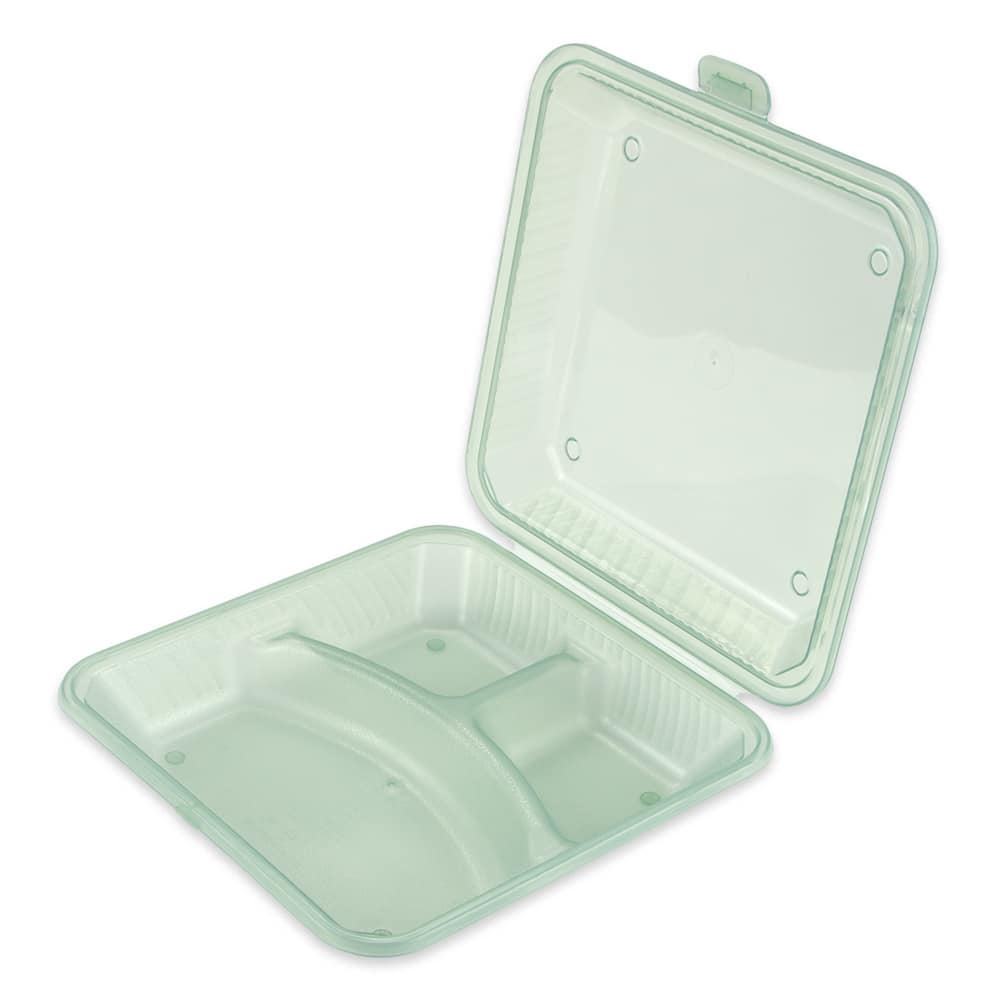 "GET EC-12-1-JA 9"" Square To Go Food Container, Polypropylene, Jade"