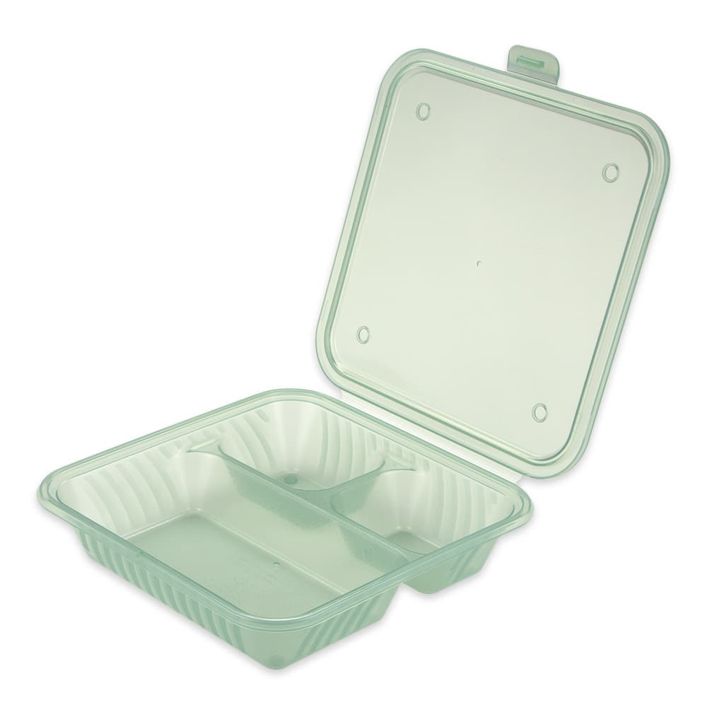 """GET EC-16-JA 4.75"""" Square To Go Food Containers, Polypropylene, Jade"""