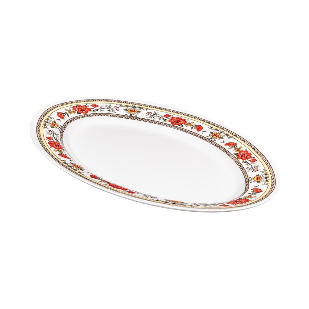 "GET M-4010-CG Oval Serving Platter, 16.25"" x 12"", Melamine, White"
