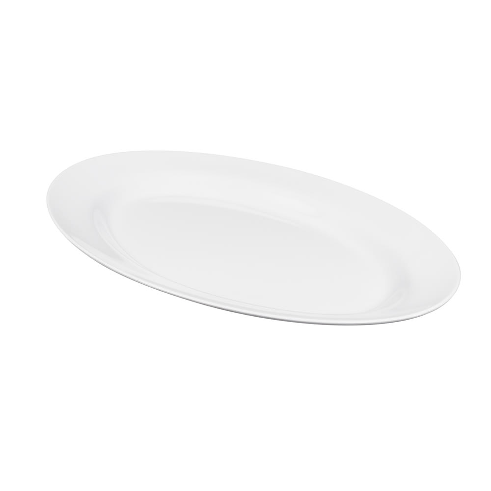 "GET M-4010-W Oval Serving Platter, 16.25"" x 12"", Melamine, White"