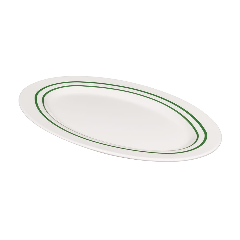 "GET M-4020-EM Oval Serving Platter, 14"" x 10"", Melamine, White"