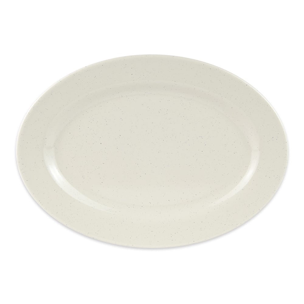 "GET M-4020-IR Oval Serving Platter, 14"" x 10"", Melamine, White"