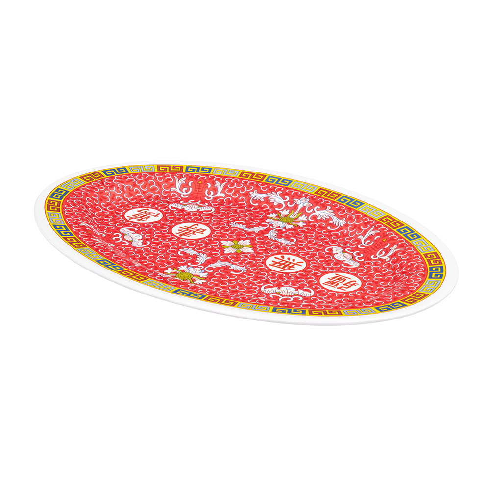 "GET M-4020-L Oval Serving Platter, 14"" x 10"", Melamine, White"