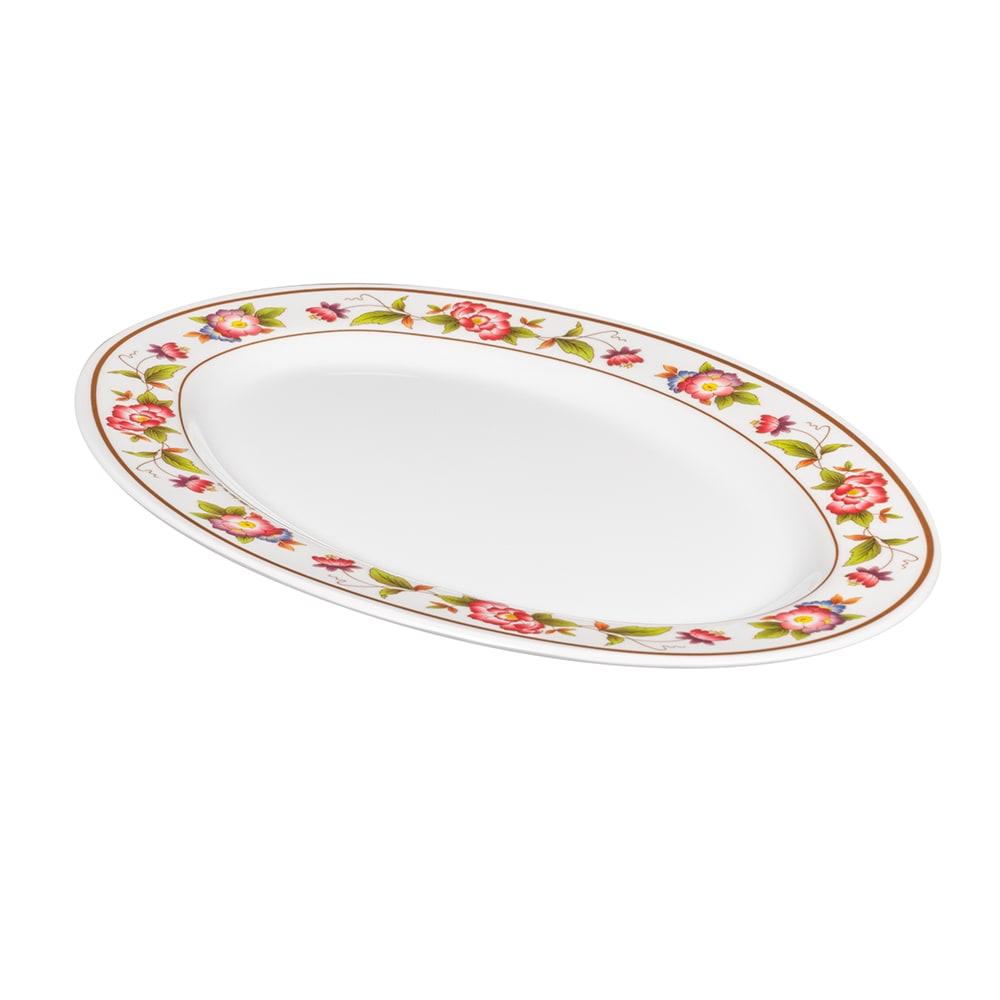 "GET M-4020-TR Oval Serving Platter, 14"" x 10"", Melamine, White"