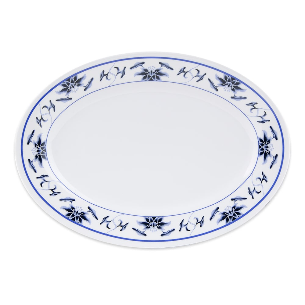 "GET M-4050-B Oval Serving Platter, 9"" x 6.5"", Melamine, White"