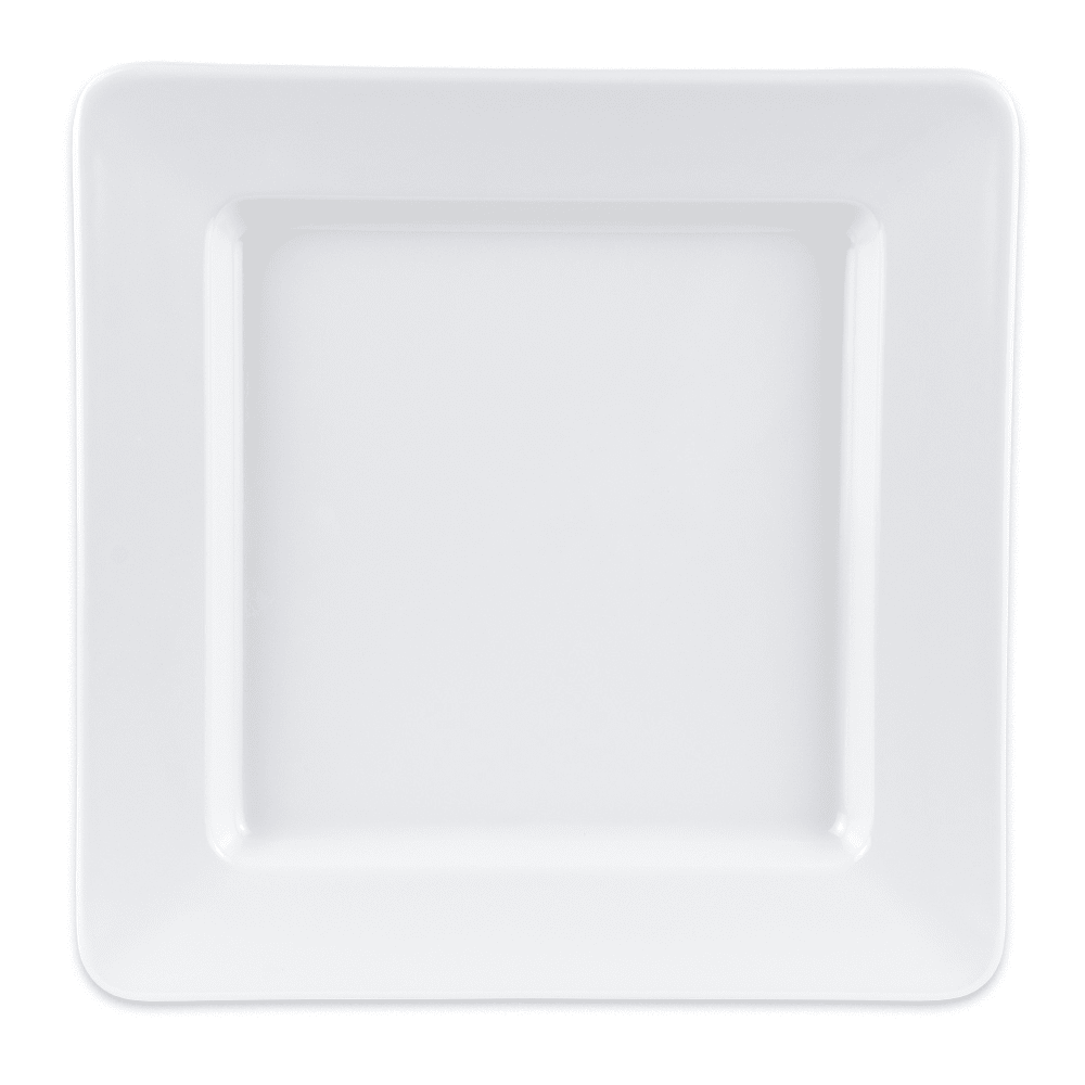 "GET ML-12-W 12"" Square Dinner Plate, Melamine, White"