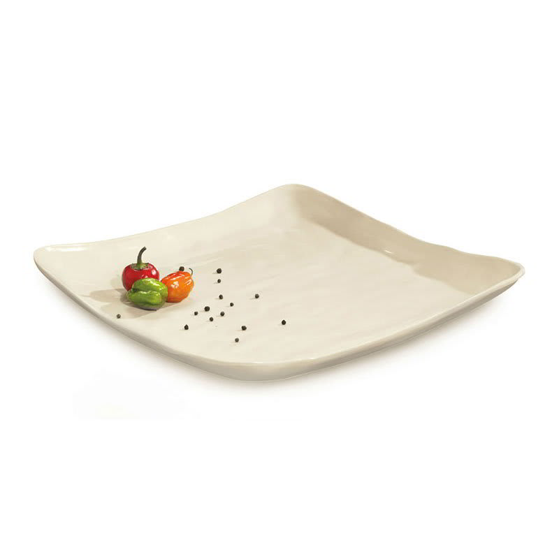 "GET ML-143-IV 16"" Square Dinner Plate, Melamine, White"