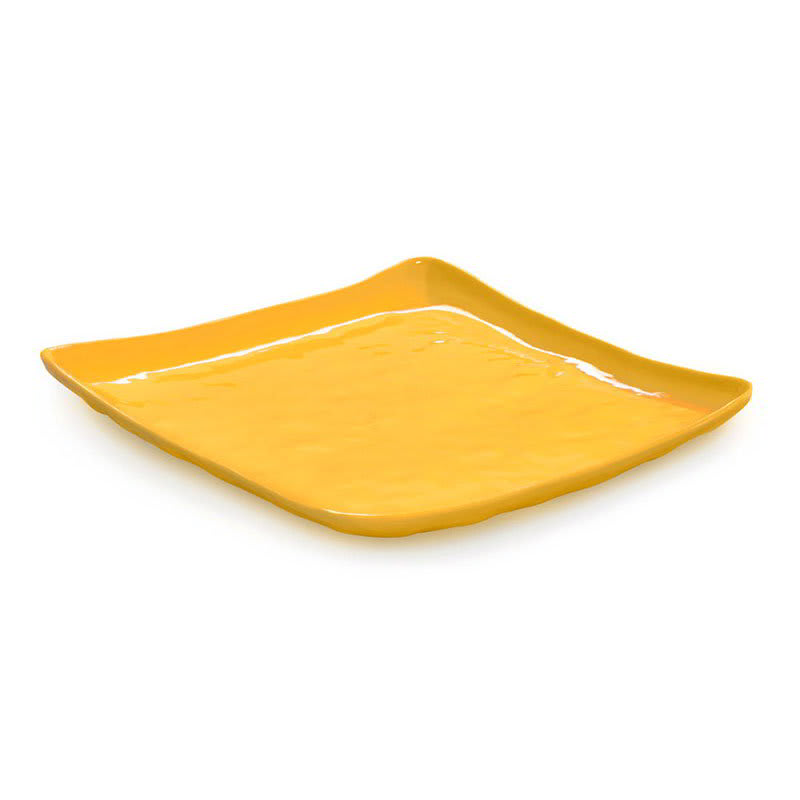 "GET ML-147-TY 13.75"" Square Dinner Plate, Melamine, Yellow"