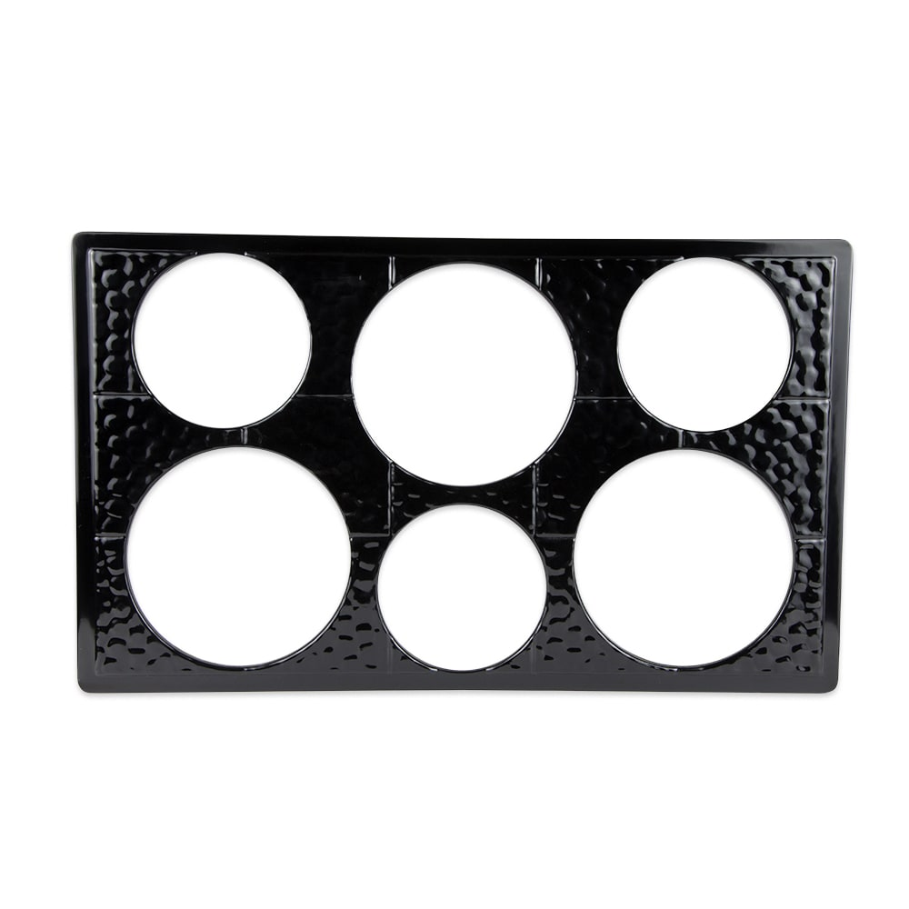 GET ML-161-BK Full-Size Tile for Round Crocks w/ (6) Cut-Outs, Melamine, Black