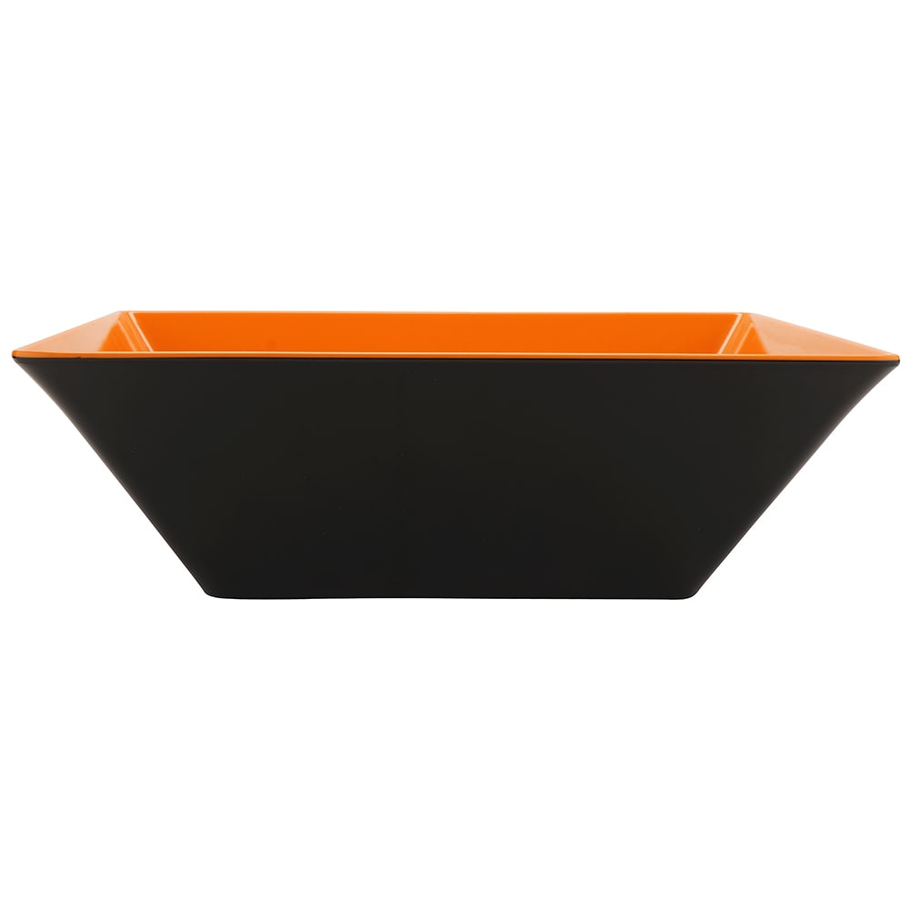 "GET ML-249-OR/BK 16"" Square Serving Bowl w/ 12.8-qt Capacity, Melamine, Orange/Black"