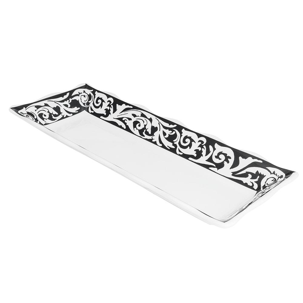 "GET ML-87-SO Rectangular Display Tray, 17.5"" x 6.75"", Melamine, White"