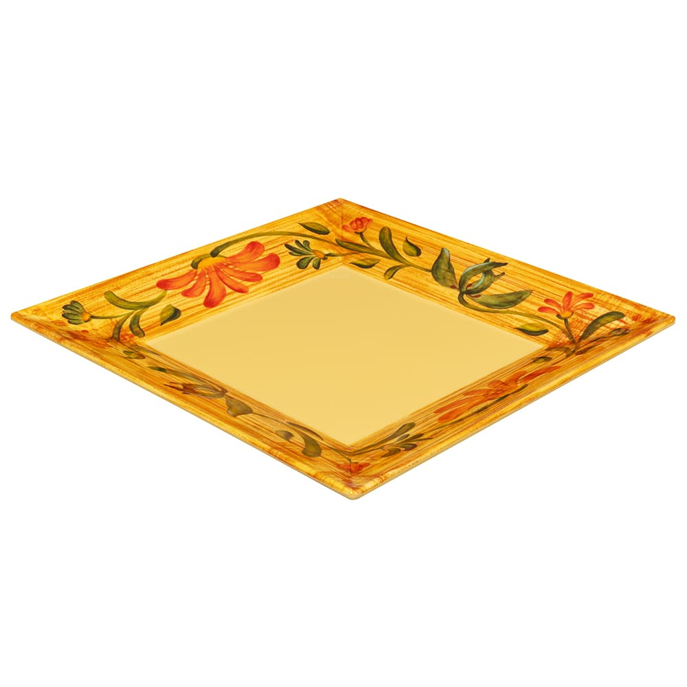 "GET ML-90-VN 12"" Square Dinner Plate, Melamine, Yellow"