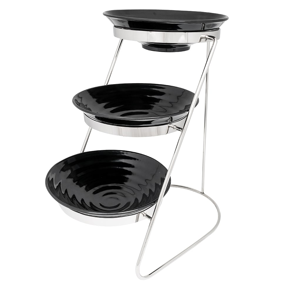 "GET MTS029/ML73BK-SET 3-Tier Display Stand Set, 11.25"" x 17.75"" x 18.75"", Stainless"