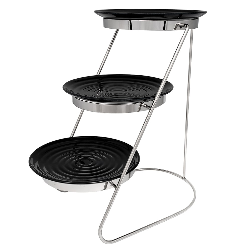 "GET MTS029/ML82BK-SET 3 Tier Display Stand Set, 11.25"" x 17.75"" x 18.75"", Stainless"
