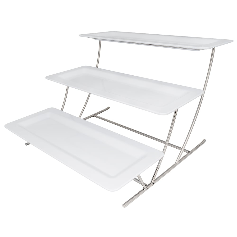 "GET MTS034/ML226W-SET 3-Tier Display Stand Set, 14.25"" x 8.25"" x 19.5"", Stainless"