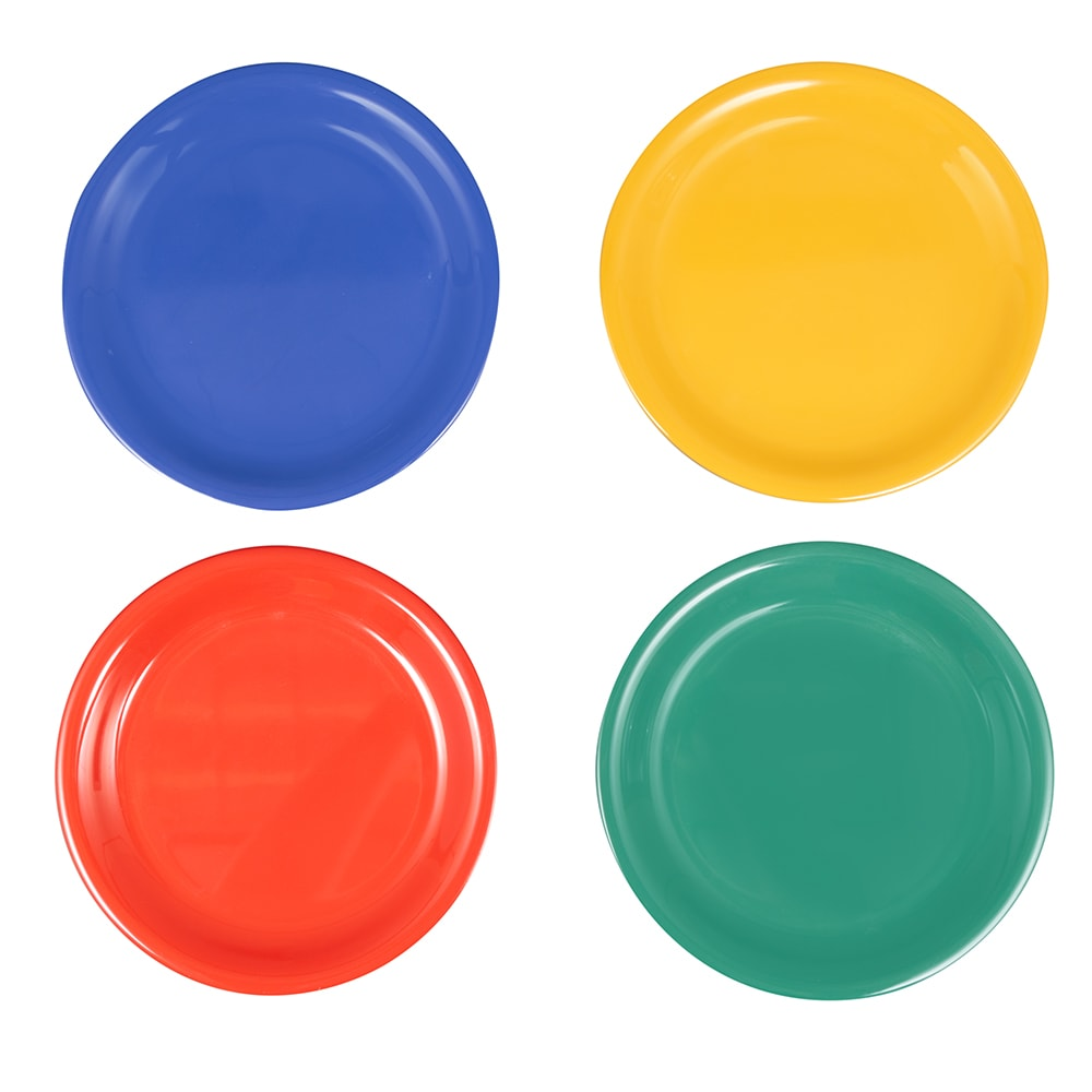 "GET NP-6-MIX (4) 6.5"" Round Dessert Plate, Melamine, Multi-Colored"