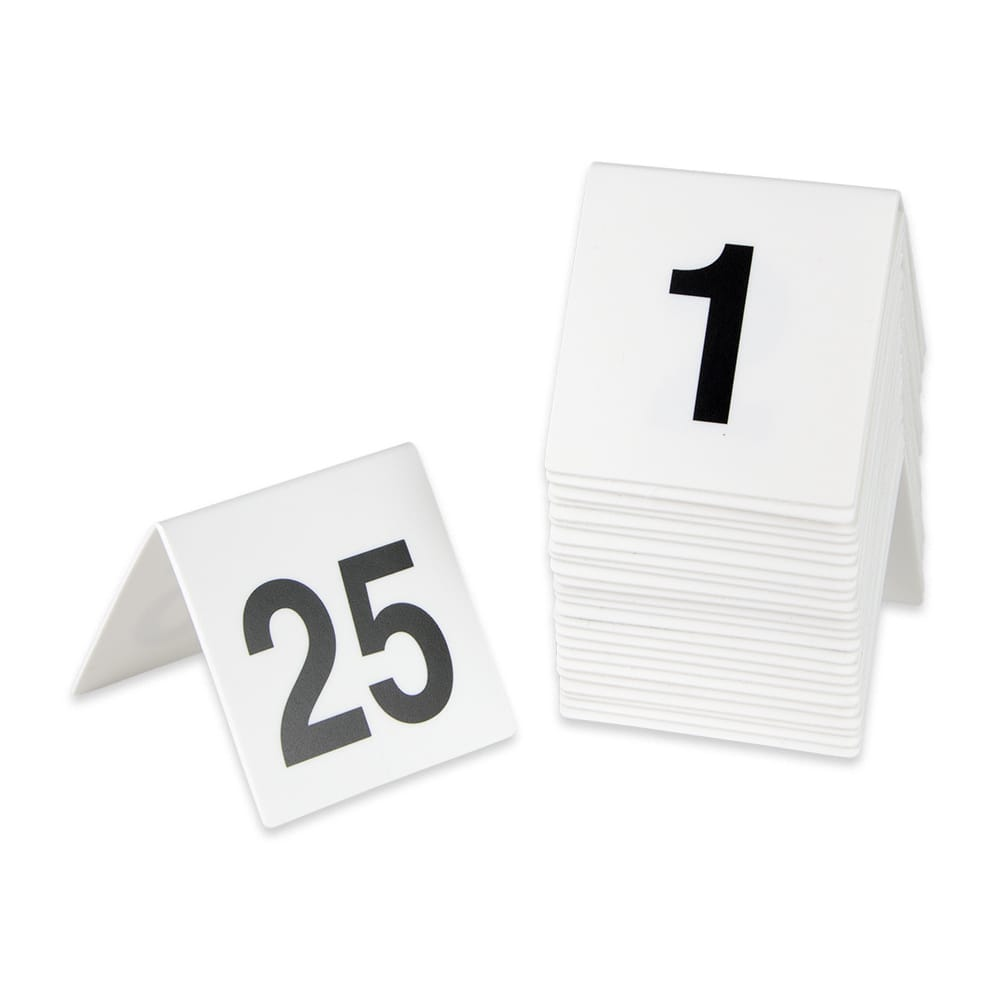 get num 1 25 table tent w numbers 1 25 polypropylene white