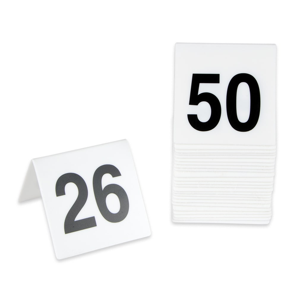 GET NUM-26-50 Table Tent w/ Numbers 26-50, Polypropylene, White
