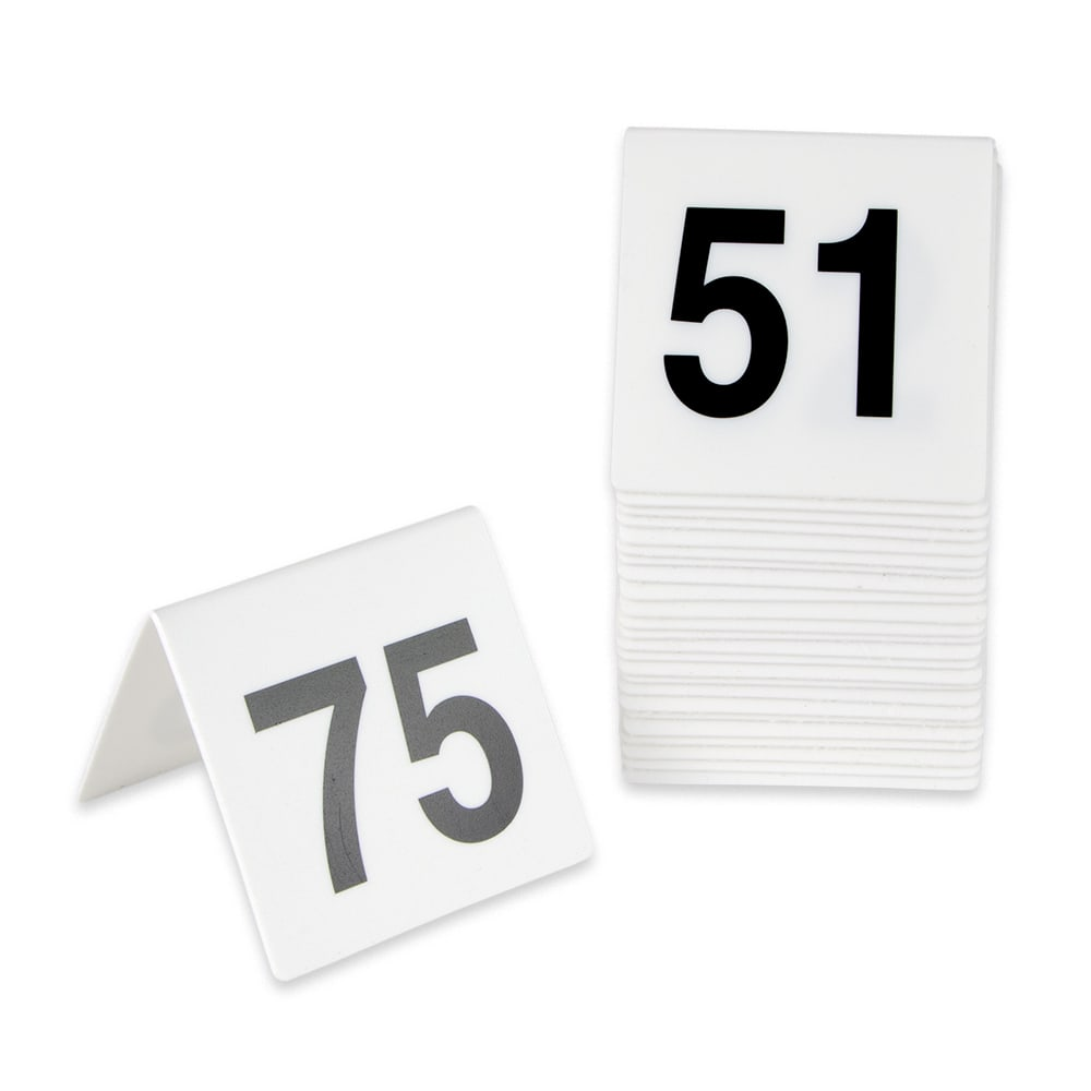 GET NUM-51-75 Table Tent w/ Numbers 51-75, Polypropylene, White