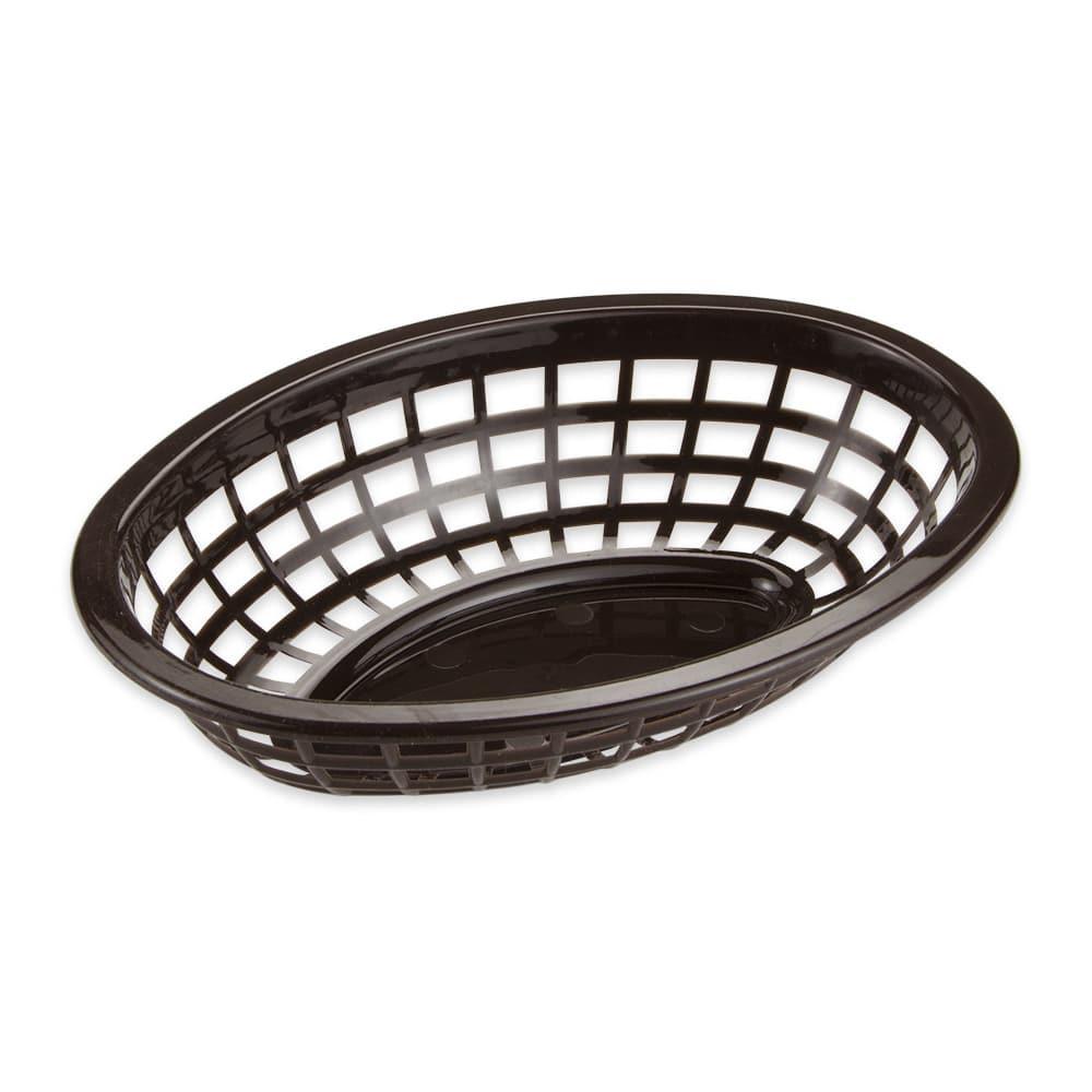 "GET OB-734-BR Oval Bread & Bun Basket, 8"" x 5.5"", Polypropylene, Brown"