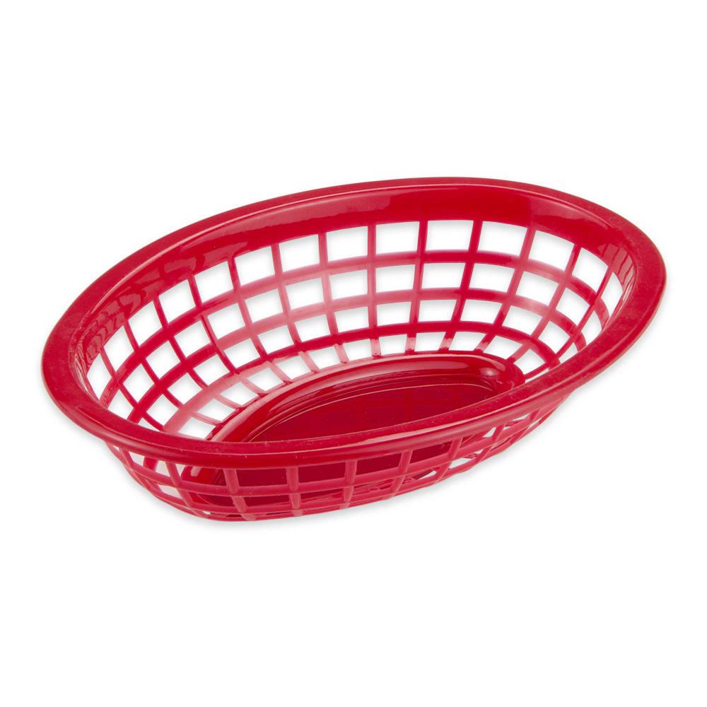 "GET OB-734-R Oval Bread & Bun Basket, 8"" x 5.5"", Polypropylene, Red"