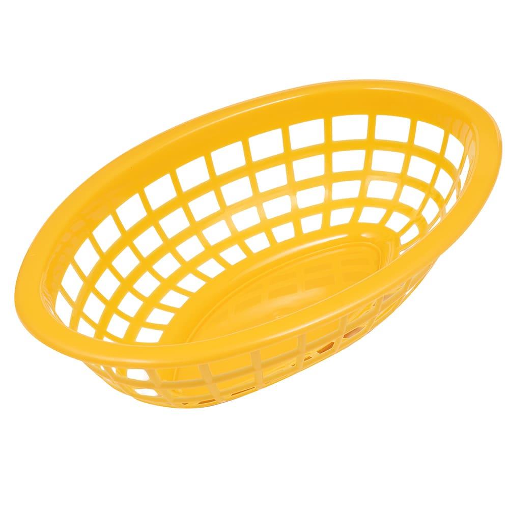 """GET OB-734-Y Oval Bread & Bun Basket, 8"""" x 5.5"""", Polypropylene, Yellow"""