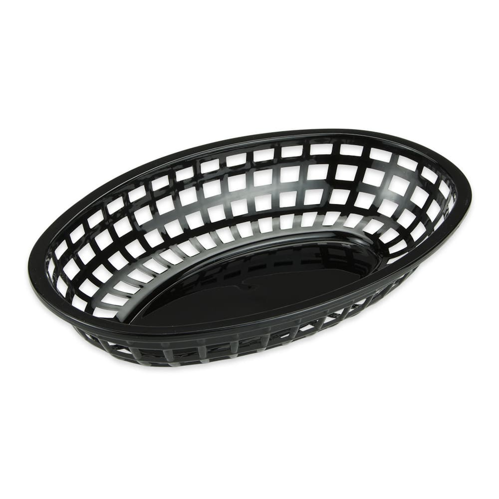 "GET OB-938-BK Oval Bread & Bun Basket, 9.5"" x 6"", Polypropylene, Black"