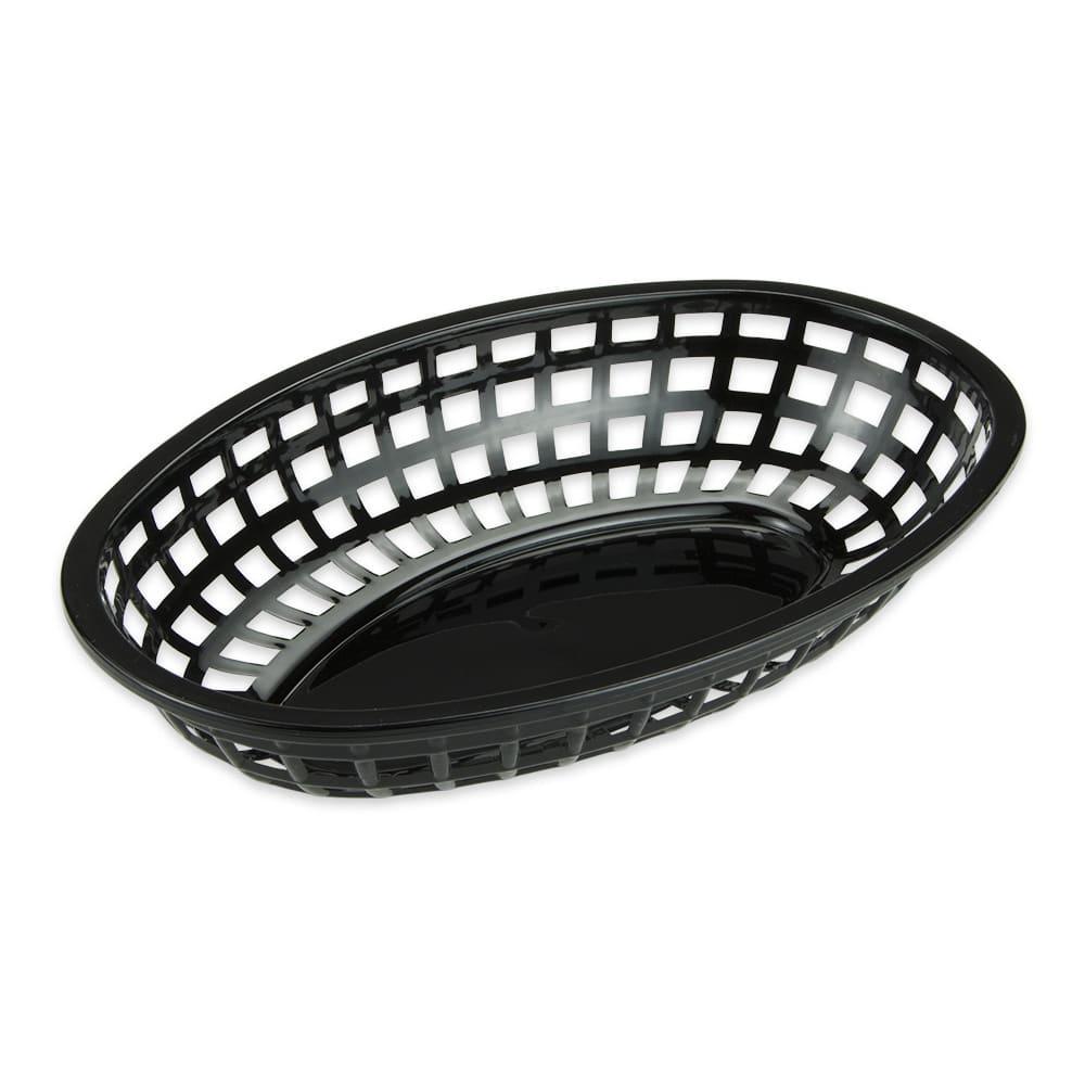 "GET OB-938-BK Oval Bread & Bun Basket, 9.5"" x 6"", Polypropylene, Black"