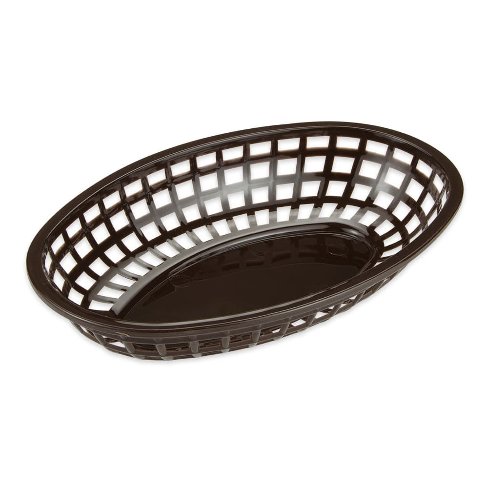 "GET OB-938-BR Oval Bread & Bun Basket, 9.5"" x 6"", Polypropylene, Brown"