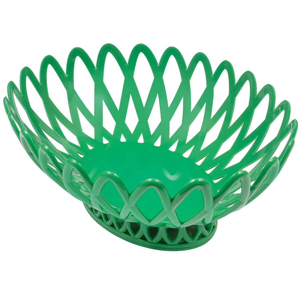 "GET OB-940-FG Oval Bread & Bun Basket, 10"" x 8.25"", Polypropylene, Green"