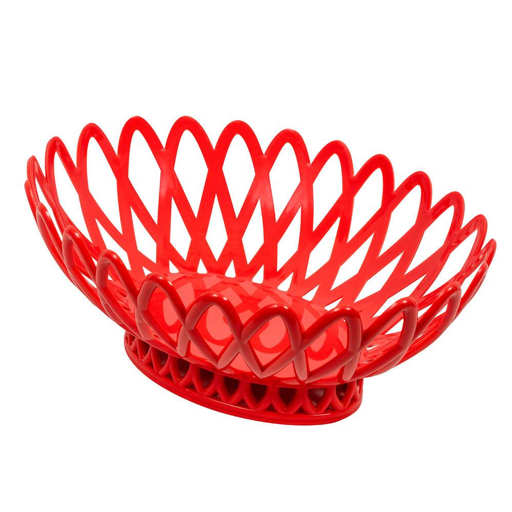 """GET OB-940-RO Oval Bread & Bun Basket, 10"""" x 8.25"""", Polypropylene, Orange"""