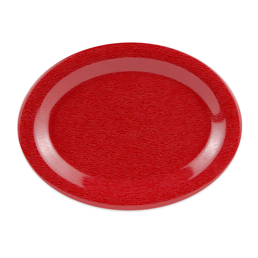 "GET OP-120-EW-R Oval Serving Platter, 12"" x 9"", Melamine, Red"