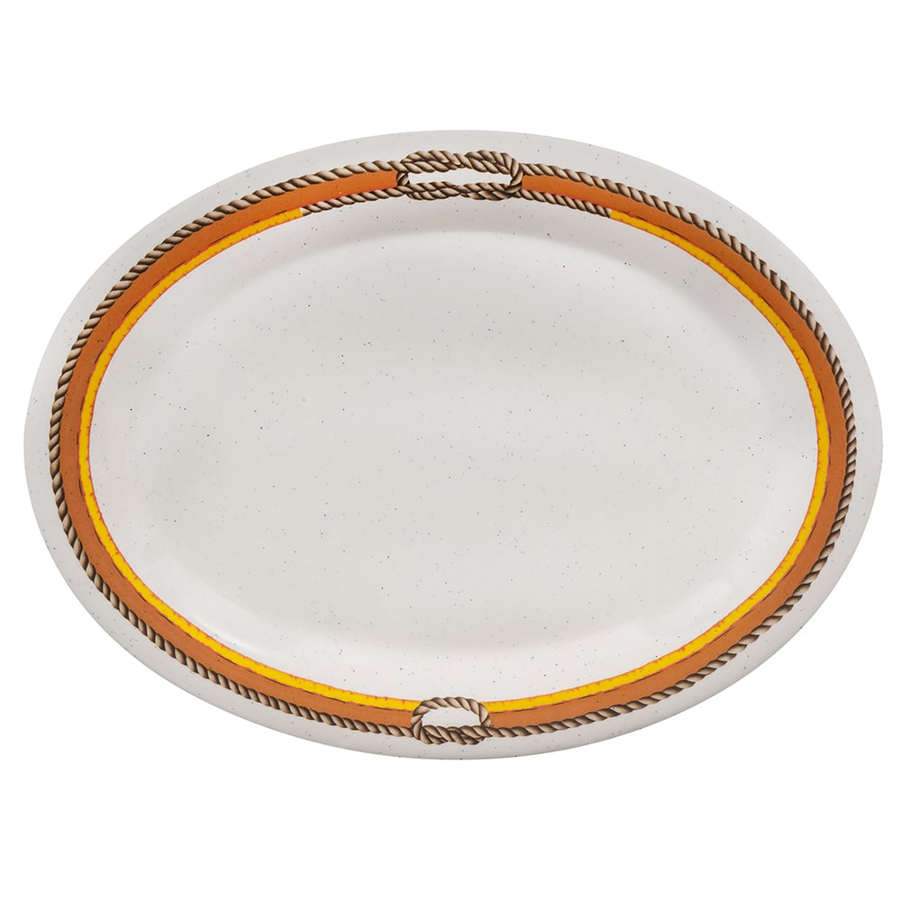 "GET OP-120-RD Oval Serving Platter, 12"" x 9"", Melamine, Brown"