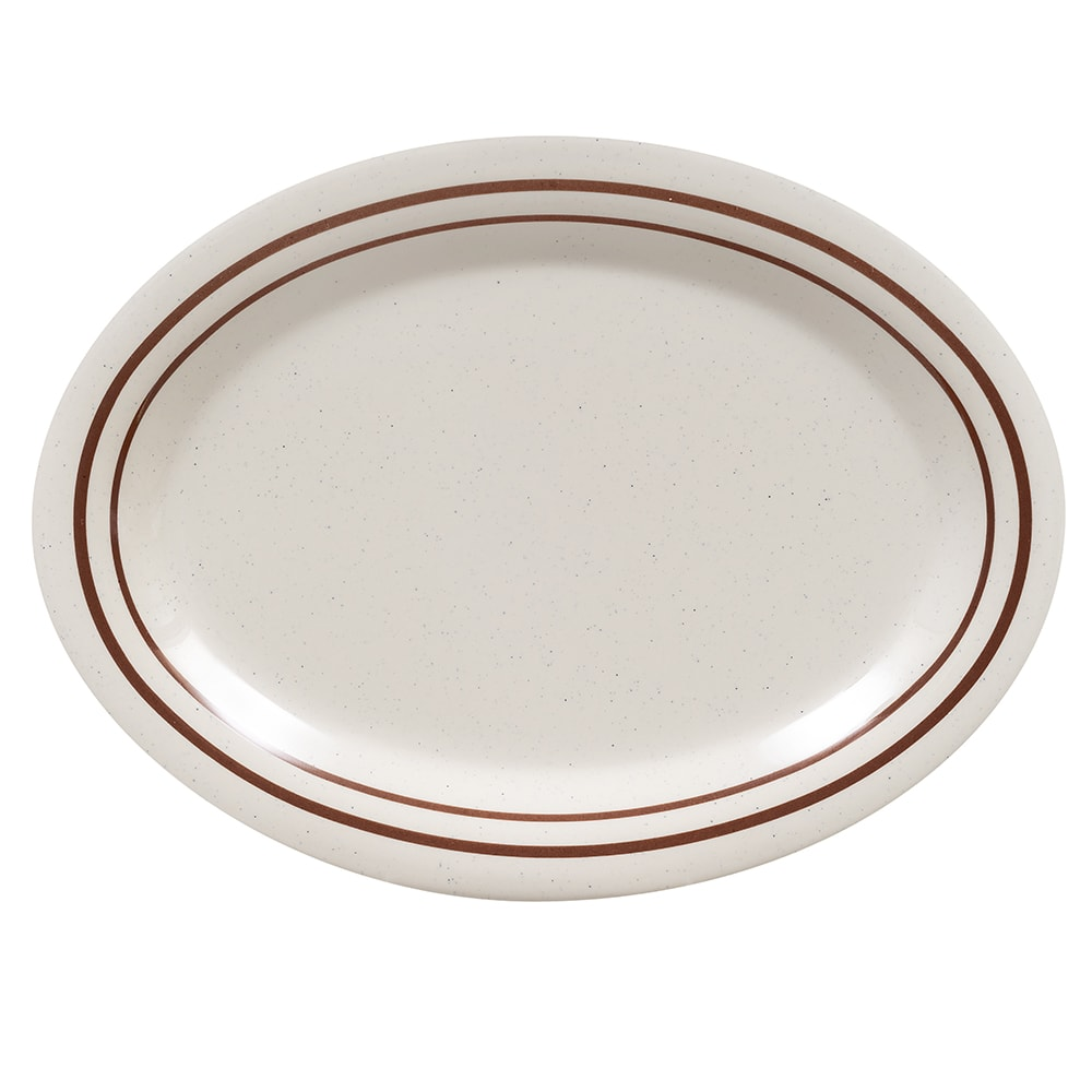 "GET OP-120-U Oval Serving Platter, 12"" x 9"", Melamine, White"