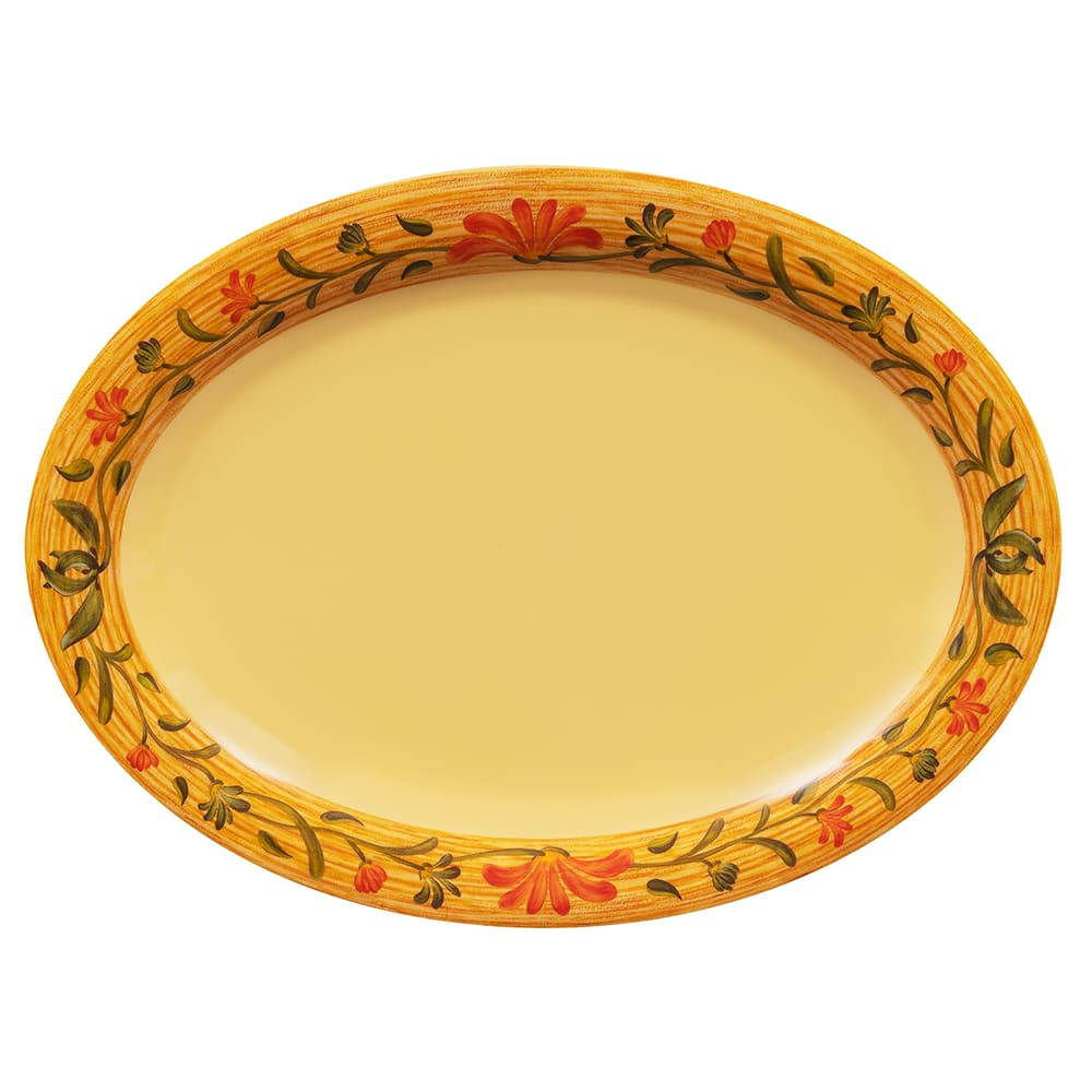 "GET OP-120-VN Oval Serving Platter, 12"" x 9"", Melamine, Yellow"