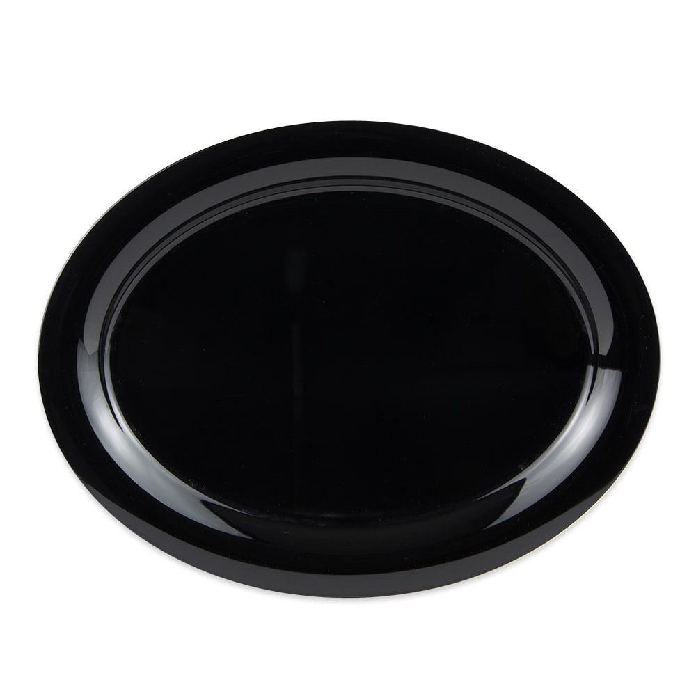 "GET OP-135-BK Oval Serving Platter, 13.5"" x 10.25"", Melamine, Black"