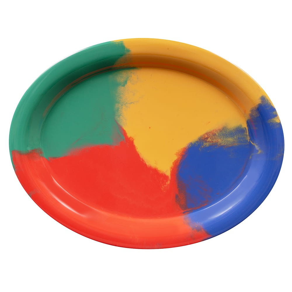 "GET OP-135-CE Oval Serving Platter, 13.5"" x 10.25"", Melamine, Multi-Colored"