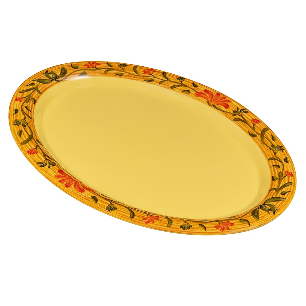 "GET OP-135-VN (4) Oval Serving Platter, 13.5"" x 10.25"", Melamine, Yellow"