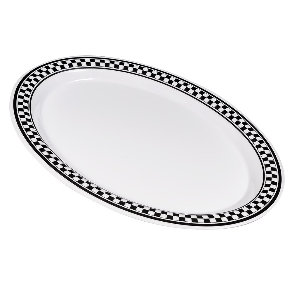 "GET OP-135-X (4) Oval Serving Platter, 13.5"" x 10.25"", Melamine, White"