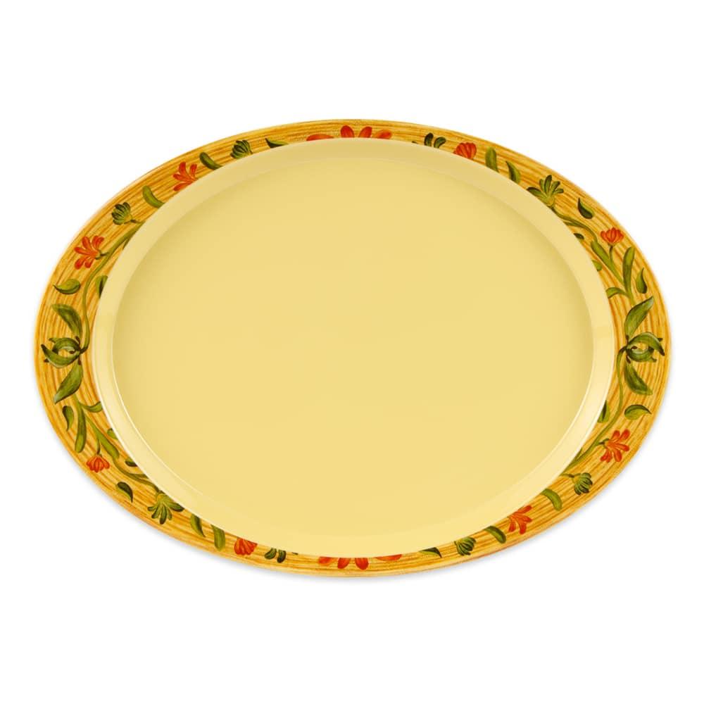 """GET OP-145-VN Oval Serving Platter, 14.75"""" x 10.5"""", Melamine, Yellow"""